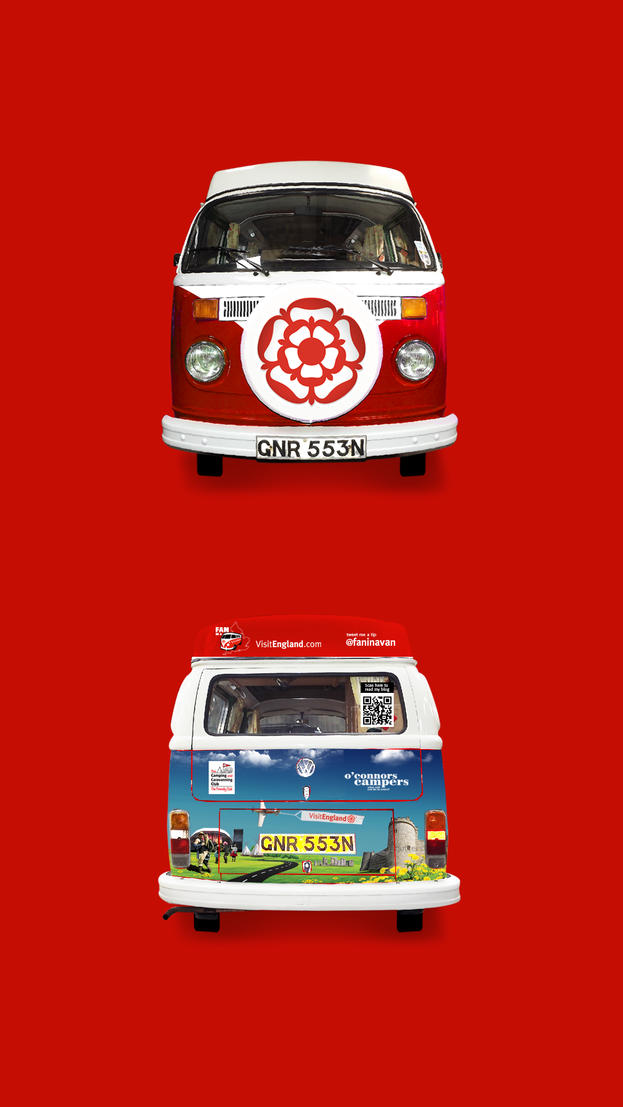 Visit England Fan in a Van Front and Back Mobile