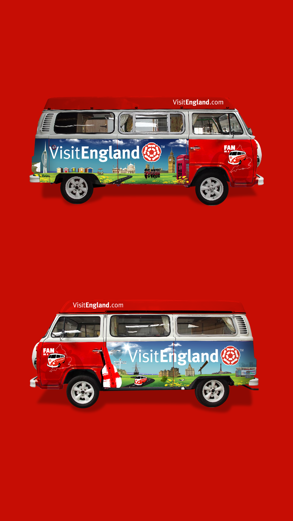 Visit England Fan in a Van Sides Mobile
